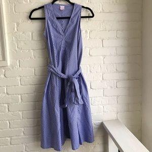 Ann Mashburn Pinstripe Blue Midi Oversized Dress